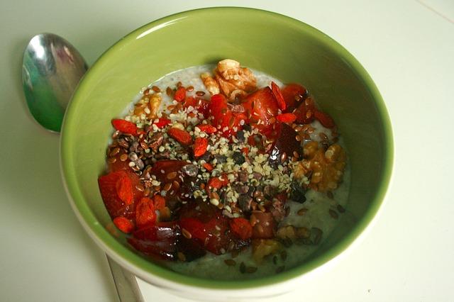 snídaně s goji semínky